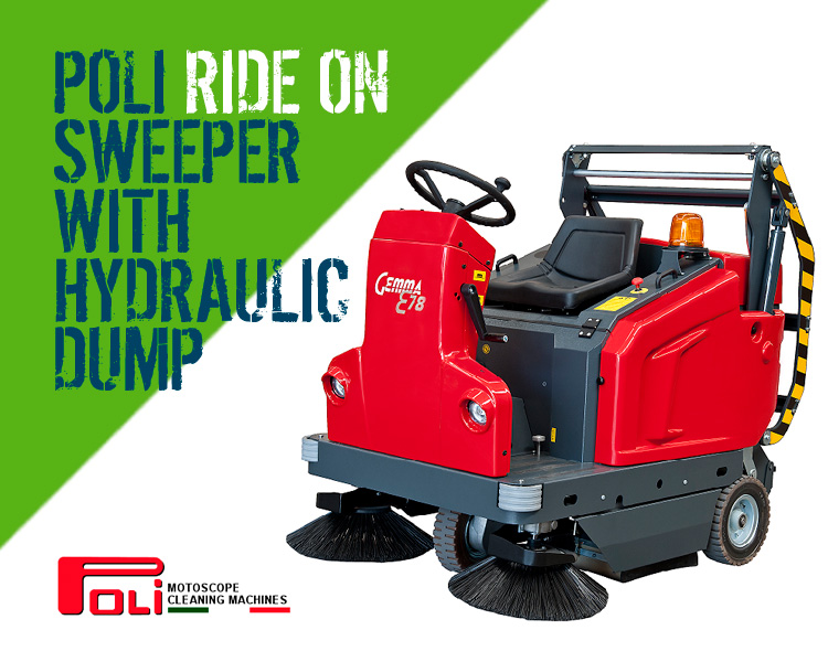 Poli Motoscope Gemma Ride-on Sweeper with Hydraulic Dump Scotland